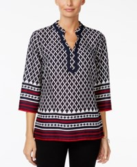 Charter Club Petite Printed Tunic Only At Macy's Intrepid Blue Combo
