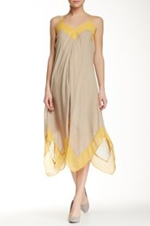 Nic Zoe Drifty Colorblock Handkerchief Hem Tank Dress Beige