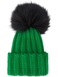 Inverni Green Wide Ribbed Cashmere Hat With Fur Pom Pom Cashmere Raccoon Dog