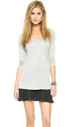 David Lerner Seamed Pocket Long Sleeve Tee Heather Grey