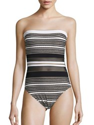Gottex Swim Regatta Bandeau Striped One Piece Swimsuit Black White Gold