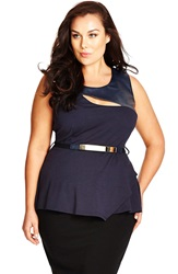 City Chic Faux Leather Yoke Peplum Top Plus Size Smoke