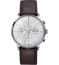 Junghans 027 4120.01 Meister Stainless Steel And Leather Chronoscope Watch Silver