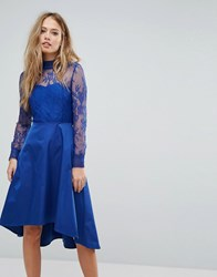 Y.A.S Lace Dress With Open Back Blue