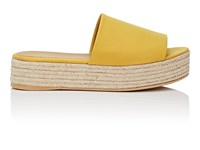 Barneys New York Satin Espadrille Slide Sandals Yellow