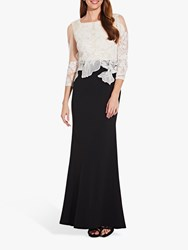 Adrianna Papell Embroidered Dress Black Ivory