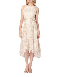 Tahari By Arthur S. Levine Embroidered Sleeveless Dress Champagne