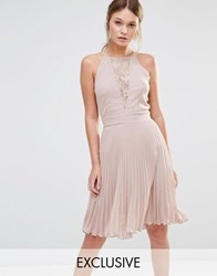 Elise Ryan Pleated Mini Dress With Lace Insert Taupe Coco Brown