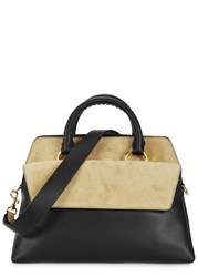 Diane Von Furstenberg Large Leather And Suede Tote Black