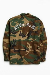 Urban Outfitters 2Pac All Eyez Camo Field Jacket Green Multi
