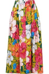 Mara Hoffman Tulay Pleated Floral Print Tencel And Linen Blend Maxi Skirt Sage Green