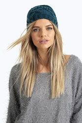 Boohoo Cross Stitch Knit Beanie Hat Teal