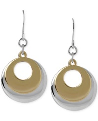 Hint Of Gold Layered Disc Earrings In 14K Gold Plated And Silver Plated Metal