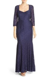 Js Collections Satin And Lace Mermaid Gown Blue