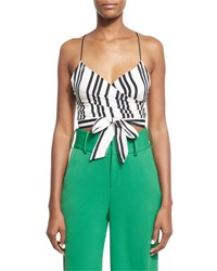 Alice Olivia Rayna Striped Tie Front Cropped Tank Top Black White Multi