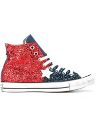 Converse 'All Star' Glitter Hi Top Sneakers Red
