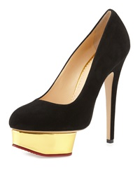 Charlotte Olympia Dolly Suede Platform Pump Black Golden