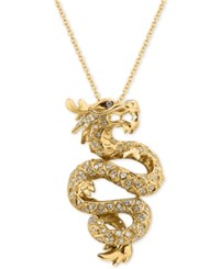 Effy Diamond Dragon Pendant Necklace 5 8 Ct. T.W. In 14K Gold Yellow Gold