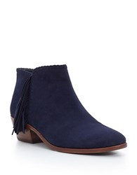 Sam Edelman Fringed Leather Ankle Boots Navy Blue