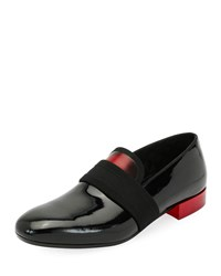 Alexander Mcqueen Banded Patent Leather Formal Loafer Black Red