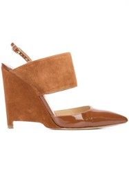 Paul Andrew Elvira Pumps Women Goat Skin Leather Patent Leather Suede 36 Brown