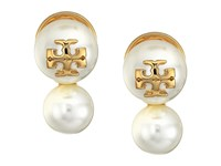 Tory Burch Crystal Pearl Double Stud Earrings Ivory Shiny Gold Earring