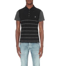 Diesel Striped Cotton Jersey Polo Shirt Navy