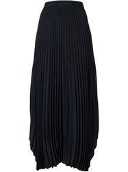 Helmut Lang Pleated Midi Skirt Blue