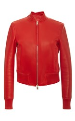 Bally Nappa Leather Bomber Jacket In Costeau Red