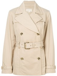 Michael Michael Kors Belted Trench Coat Women Cotton Polyester Spandex Elastane L Nude Neutrals