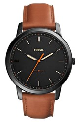 Fossil Minimalist Leather Strap Watch 44Mm Brown Black
