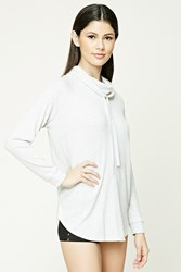 Forever 21 Cowl Neck Ribbed Pullover Heather Grey