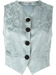 Dolce And Gabbana Vintage Jacquard Waistcoat Blue