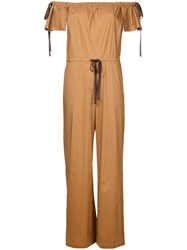 Aula Off Shoulder Jumpsuit Brown