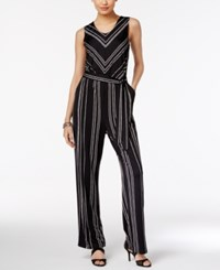 Ny Collection Chevron Print Belted Jumpsuit Black White Chevron
