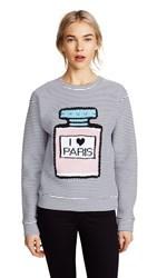 Michaela Buerger I Love Paris Perfume Bottle Striped Sweatshirt Black White