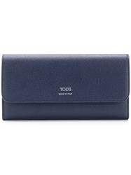 Tod's Logo Continental Wallet Blue
