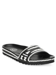 Ash Ulla Whipstitched Leather Slides Black Silver