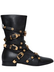 Versace 10Mm Studded Leather Ankle Boots Black Gold