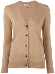 Burberry V Neck Buttoned Cardigan Nude Neutrals