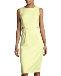 Tahari By Arthur S. Levine Back Cutout Sheath Dress Yellow