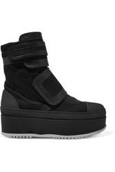 Marni Leather Trimmed Twill Platform Sneakers Black