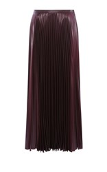 Karen Millen Wetlook Pleat Maxi Skirt Purple