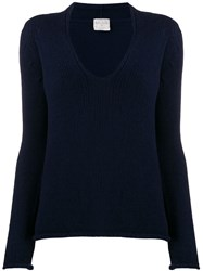 Forte Forte Long Sleeved U Neck Jumper Blue
