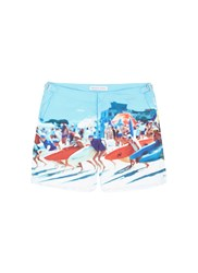 Orlebar Brown 'Bulldog Hulton Getty' Beach Print Swim Shorts Blue