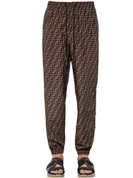 Fendi Allover Logo Printed Track Pants Brown