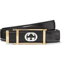 Gucci 2Cm Black Textured Leather Belt Black