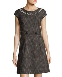 Nanette Nanette Lepore Fringe Trim Cap Sleeve Fit And Flare Dress Black White