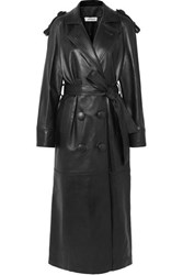 Attico Leather Trench Coat Black