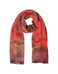 Mila Schon Ornamental And Pattern Printed Satin Silk Stole Red